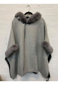 Cinnamon Fur Cape with Hood light Grey