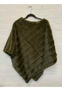 Cinnamon Plush Faux Fur Poncho Olive Green