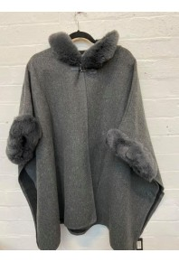 Cinnamon Fur Cape with Hood Grey Marl
