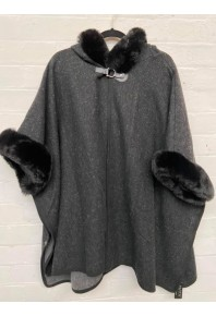 Cinnamon Fur Cape with Hood Black