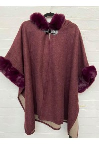 Cinnamon Fur Cape with Hood Burgundy