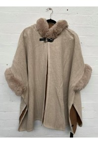 Cinnamon Fur Cape with Hood Beige