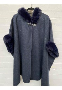 Cinnamon Fur Cape with Hood Navy