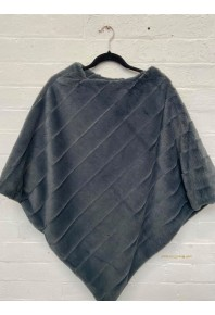 Cinnamon Plush Faux Fur Poncho Grey