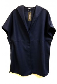Cinnamon Hooded Wool Blend Jacket Navy