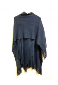 Cinnamon Plain Fringe Wrap Peacock Blue