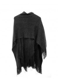 Cinnamon Plain Fringed Wrap Black
