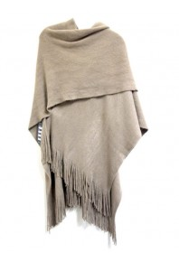 Cinnamon Plain Fringed Wrap Tan