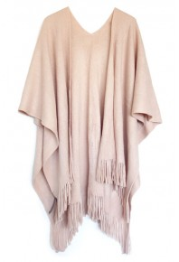 Cinnamon Plain Fringed Wrap Dusty Pink
