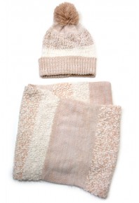 Cinnamon Knitted Beanie and Snood Set Pink