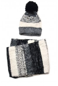 Cinnamon Knitted Beanie and Snood Set Black