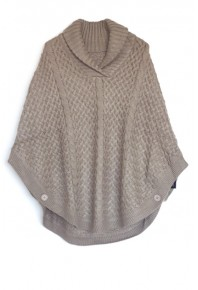 Cinnamon Creations Knitted Roll Neck Poncho Beige