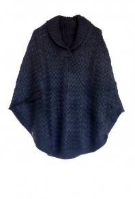 Cinnamon Creations Knitted Roll Neck Poncho Navy