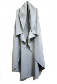 Cinnamon Long Wool Blend Cape Grey