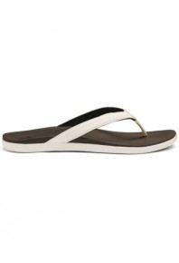Olukai Ho'Opio Thong White on Black