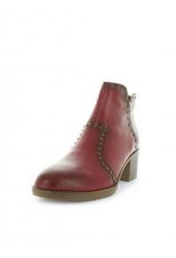 Zola Hinky Studded Block Heel Boot Red