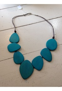 Teal stone look wood bead Necklace