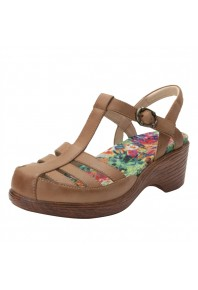 Alegria Summer Cognac Wedge Sandal
