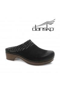 Dansko Bev Woven Collar Black Burnish Clog