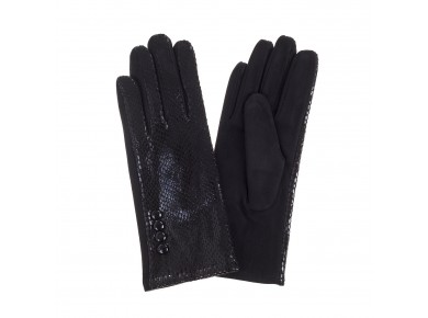 IVYS Faux Snake Skin Gloves Black