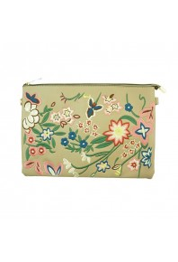 Evelyn Embroidered Clutch Bag Beige