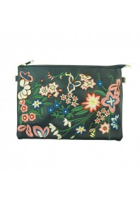 Evelyn Embroidered Clutch Bag Navy