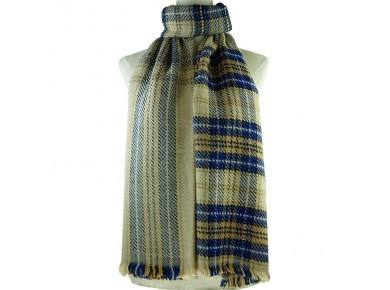 IVYS Chunky Winter Scarf Beige Plaid
