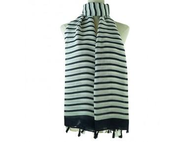 IVYS Navy/White Stripe Scarf