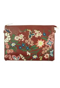 Evelyn Embroidered Clutch Bag Wine