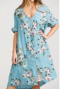 Abigail Linen Coat Dress Tahitian Blue