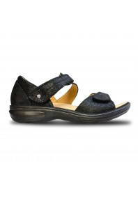 Revere Geneva Heel Counter Sandal Black Lizard