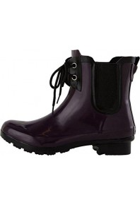 Roma CHELSEA LACE UP EGGPLANT WOMENS RAIN BOOTS
